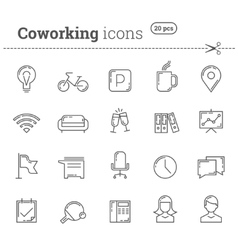 Coworking icons set Stock vector image vector image