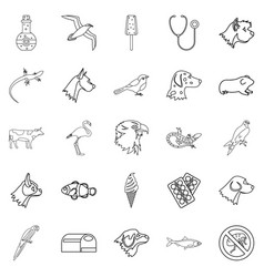 domesticated animals icons set outline style vector image