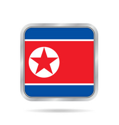 flag of north korea metallic gray square button vector image