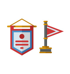 trophy champion flag flat icon winner gold vector image