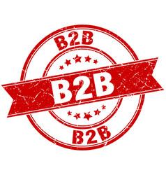 B2b round grunge ribbon stamp vector