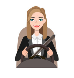 businesswoman driving a car woman clothing in vector image