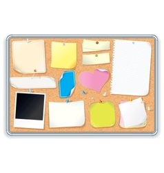 Cork Notice Board with Blank Notes Image vector image vector image