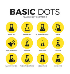 flask flat icons set vector image vector image