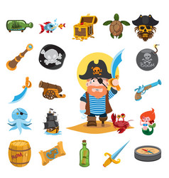 pirate icons pirate pirate captain vector image