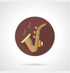 saxophone music flat brown round icon vector image