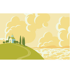 Spring landscape with village on the hill vector