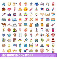 100 honeymoon icons set cartoon style vector image
