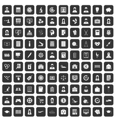 100 statistic data icons set black vector