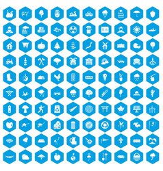 100 tree icons set blue vector