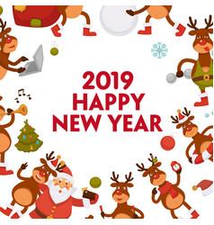 2019 cartoon santa and deer poster or greeting vector image
