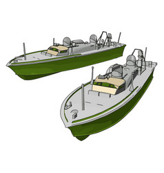 3d two green army ships on white background vector