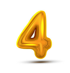 4 four number golden yellow metal letter vector
