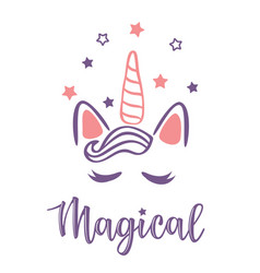 A magic cute pink unicorn vector