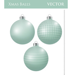 A set of light green christmas balls vector