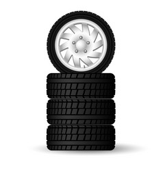 A stack new four winter tires with rims for vector