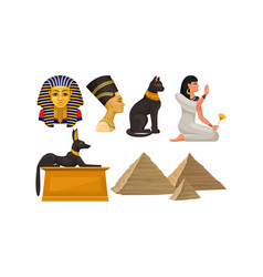 Ancient egyptian architecture and culture deities vector