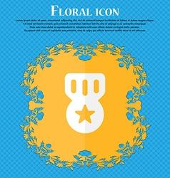 Award Medal of Honor Floral flat design on a blue vector image