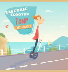 Banner for self-balancing electric scooter vector