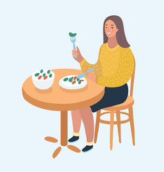 beautiful woman eat salad and hamburger vector image