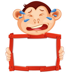 Blank sign template with crying monkey on white vector