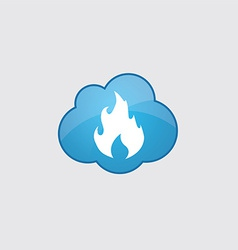 Blue cloud fire icon vector image