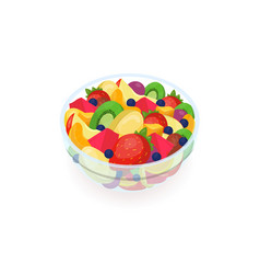 Bowl of tasty salad made of fresh exotic fruits vector