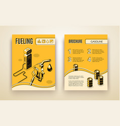 brochure template with isometric gas vector image