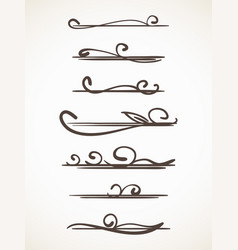 Calligraphic line page decoration vector