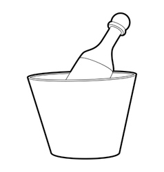 Champagne in bucket icon outline style vector