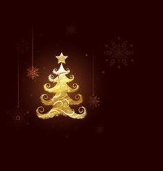 Christmas tree of gold foil vector