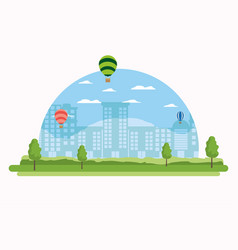Cityscape and hot air balloons vector
