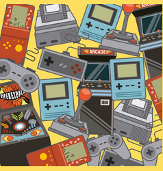 classic videogames and console entertainment icons vector image