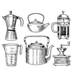 Coffee maker or grinder french press measuring vector