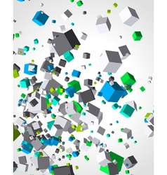 Colorful cubes burst background vector image