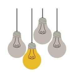 Colorful hanging bulbs with filaments off vector