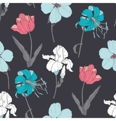Colorful Vintage Flowers On Charcoal Grey vector