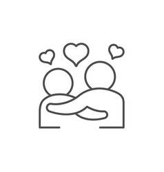 Couple in love line outline icon vector