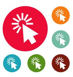 cursor interface icons circle set vector image