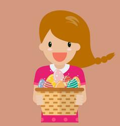 Cute girl holding basket full easter eggs vector