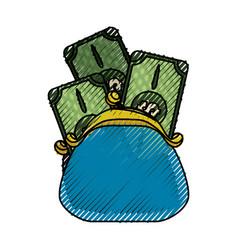 Cute pruse with bills cash money vector