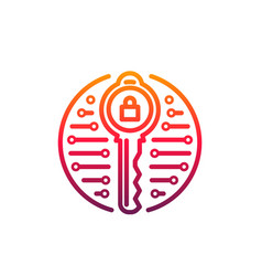 cyber security icon padlock inside key vector image