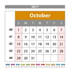 Desk Calendar for 2017 Year October Design Print vector image