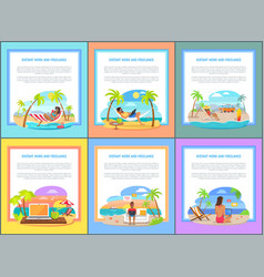 Distant work and freelance promotional posters set vector