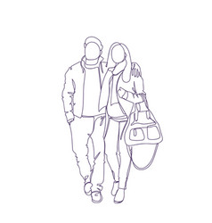Doodle couple walk embracing sketch man and woman vector