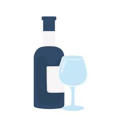 Drink beverage wine bottle and glass vector