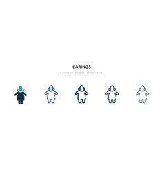 Earings icon in different style two colored and vector