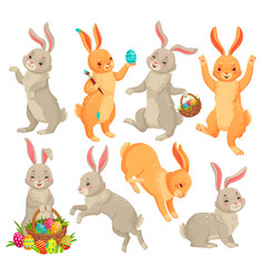 easter bunny jumping rabbit dancing funny vector image