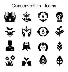 Eco friendly conservation icon set graphic design vector