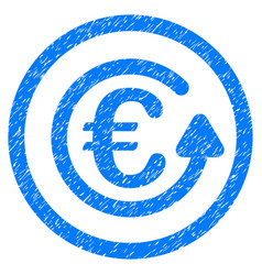 euro chargeback rounded icon rubber stamp vector image